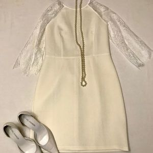 Dresses & Skirts - White/Cream Lace Mini Dress 3/4 Sleeve  10 NWOT.